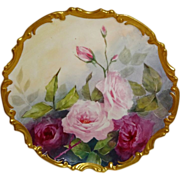 Antique French Limoges Plaque Charger Hand Painted Pink Roses