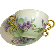 Antique French Limoges Cup Saucer Hand Painted Purple Violets