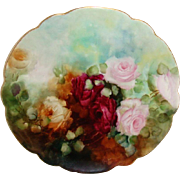 Stunning Limoges France Plate Hand Painted Tea Roses