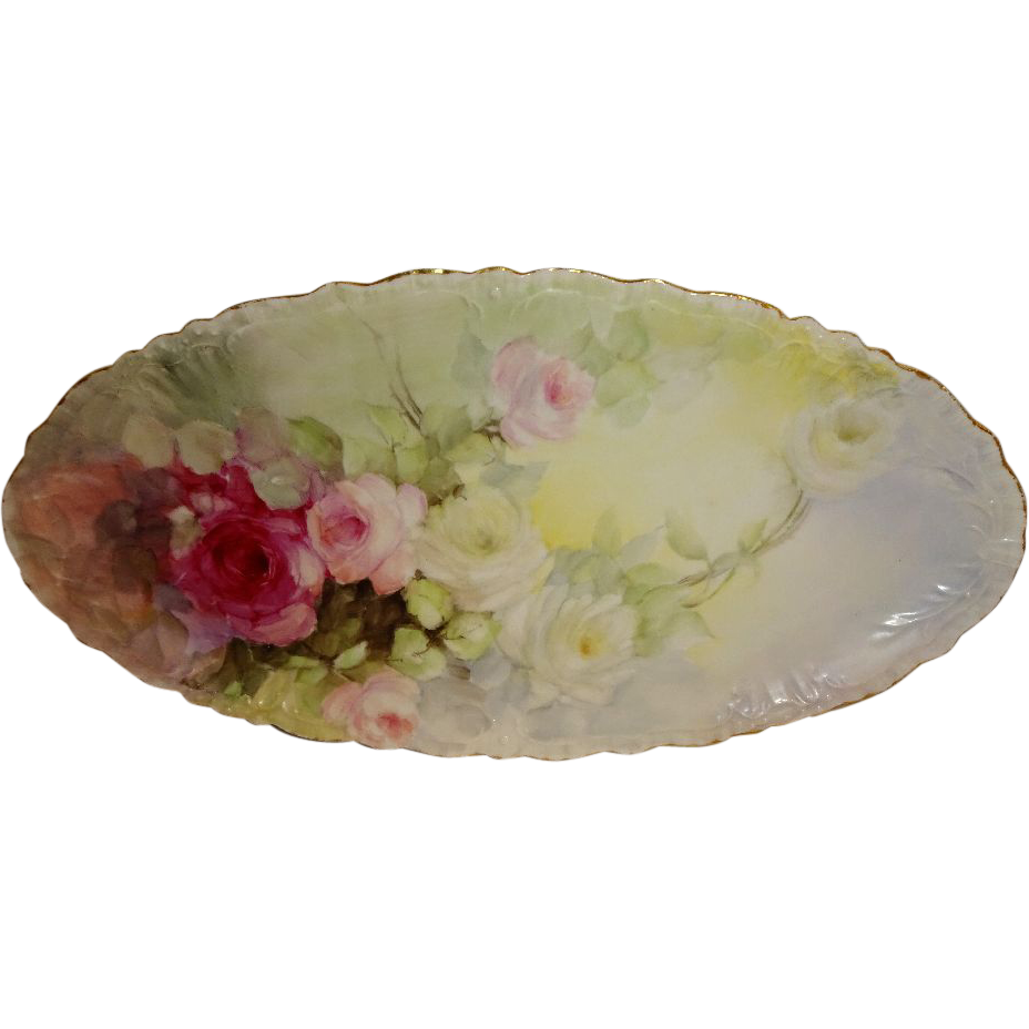 Vintage JPL Limoges France Hand Painted Tray Romantic Pink Roses