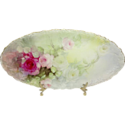 Stunning JPL Limoges Tray Hand Painted Multicolored Tea Roses