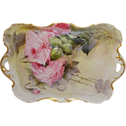 Exquisite French Antique Theodore Haviland Limoges France Tray with Romantic Pink Roses Artist Signed