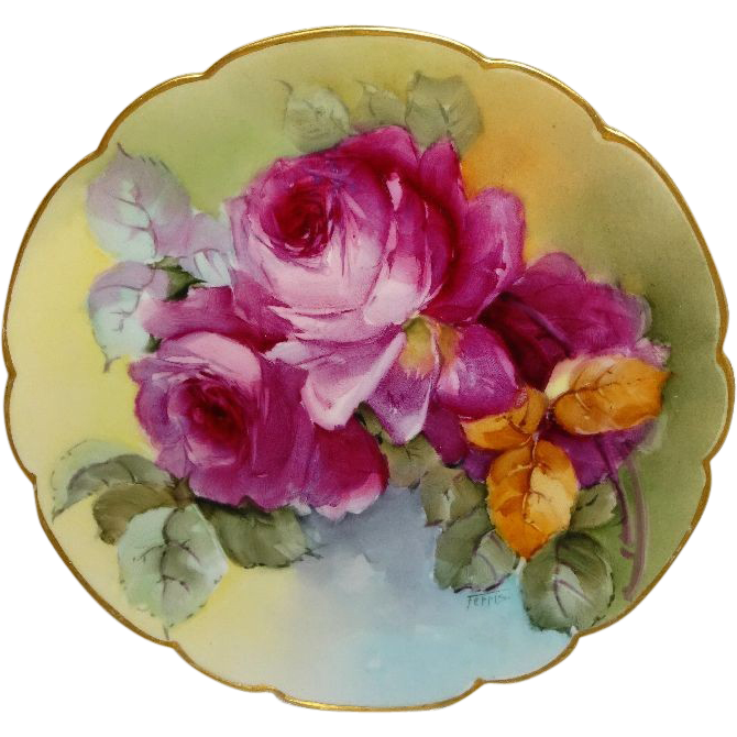 French Vintage Haviland Limoges France Plate Hand Painted Roses Famous Artist Signed IDA FERRIS