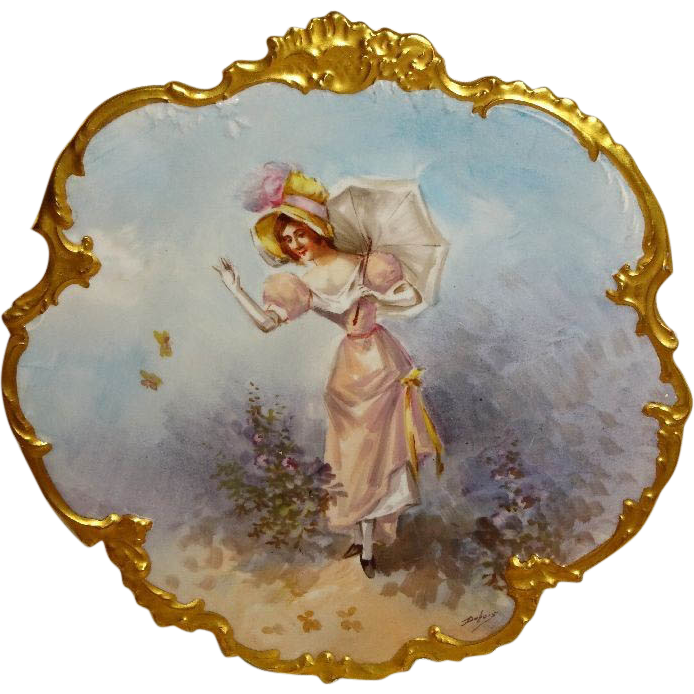 Limoges Portrait Figural Plaque Charger Hand Painted Signed Dubois