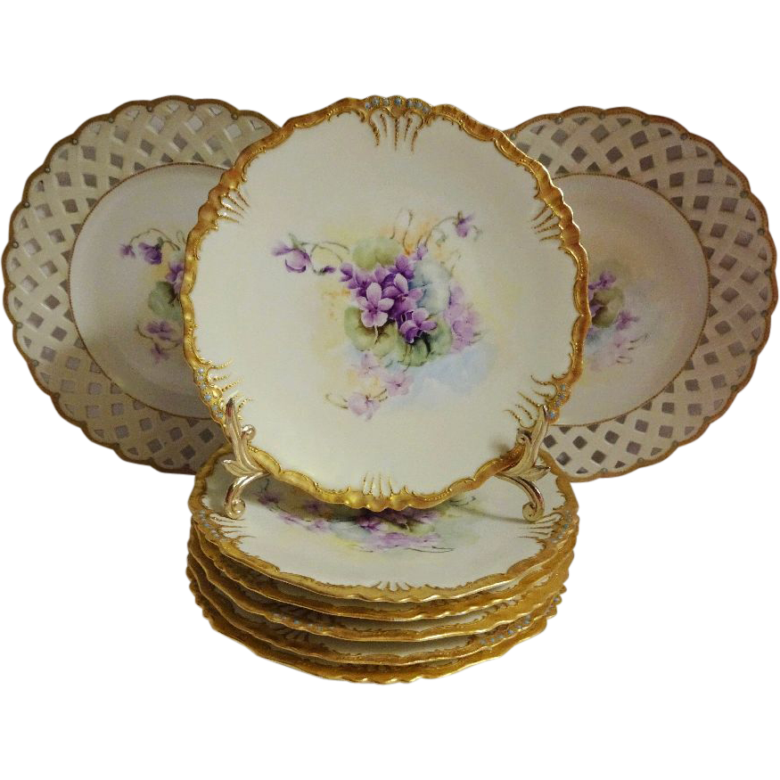 Vintage French Limoges Ice Cream Dessert Plate Set Hand Painted Purple African Violets Jewels Reticulated Lattice Borders