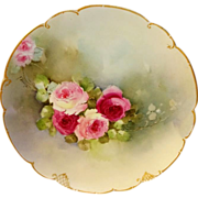 Artist Signed IDA FERRIS French Haviland Limoges Plate Hand Painted Pink Roses