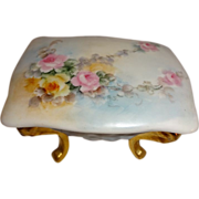 Lovely Vanity Footed Trinket Box Hand Painted Pink Roses
