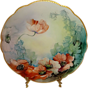Antique French Limoges Plate Hand Painted Poppies