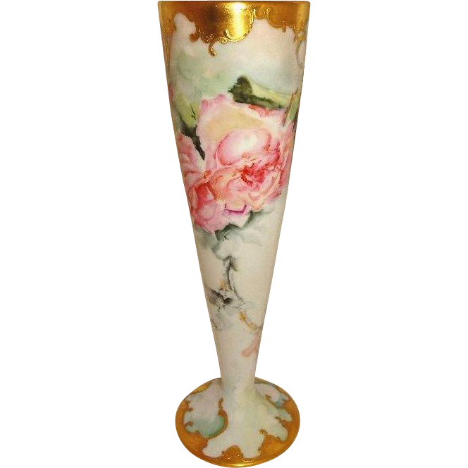 Antique Limoges Vase Hand Painted Roses Raised Gilded Design