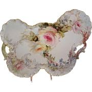 Antique - Haviland - Limoges - France - Tray - Hand Painted - Romantic - Victorian - Bouquet - Sweetheart Roses - Lush Greenery - Scalloped Gold Rim - Circa 1896 - Museum Quality - Only Fine Lines