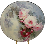 Magnificent - T& V Limoges - Charger - Tray - Stellar Roses Bouquet - Hand Painted - Circa 1907 - Museum Quality - Only Fine Lines