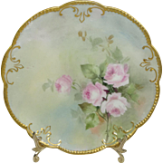 Antique French AK Limoges Plate Hand Painted Pink Tea Roses