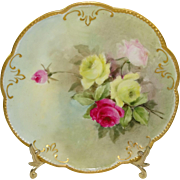 Antique AK French Limoges Plate Hand Painted Tea Roses