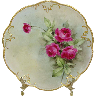 French Antique AK Limoges Plate Hand Painted Scarlet Tea Roses