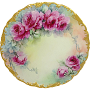Antique French Limoges Plate Hand Painted Tea Roses