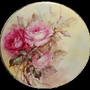Vintage French Limoges France Artist Signed Mint Hood Plate Hand Painted Pink Tea Roses