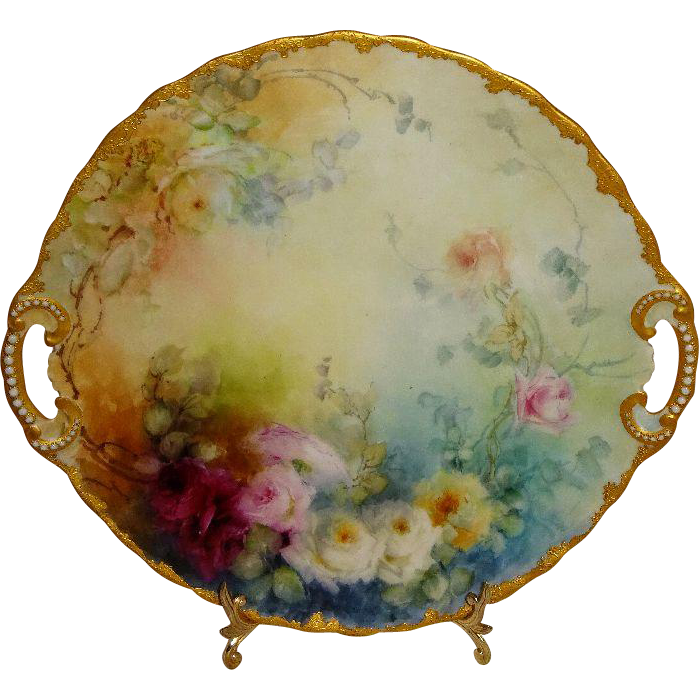 Antique French Limoges Plate Hand Painted Roses Raised Gilded Design Jeweled Handles