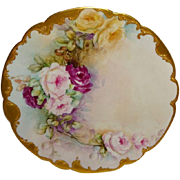 French Limoges France Antique Plate with Hand Painted Pink and Yellow Roses