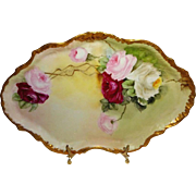 French Vintage Guerin Limoges France Hand Painted Tray Sweetheart Roses