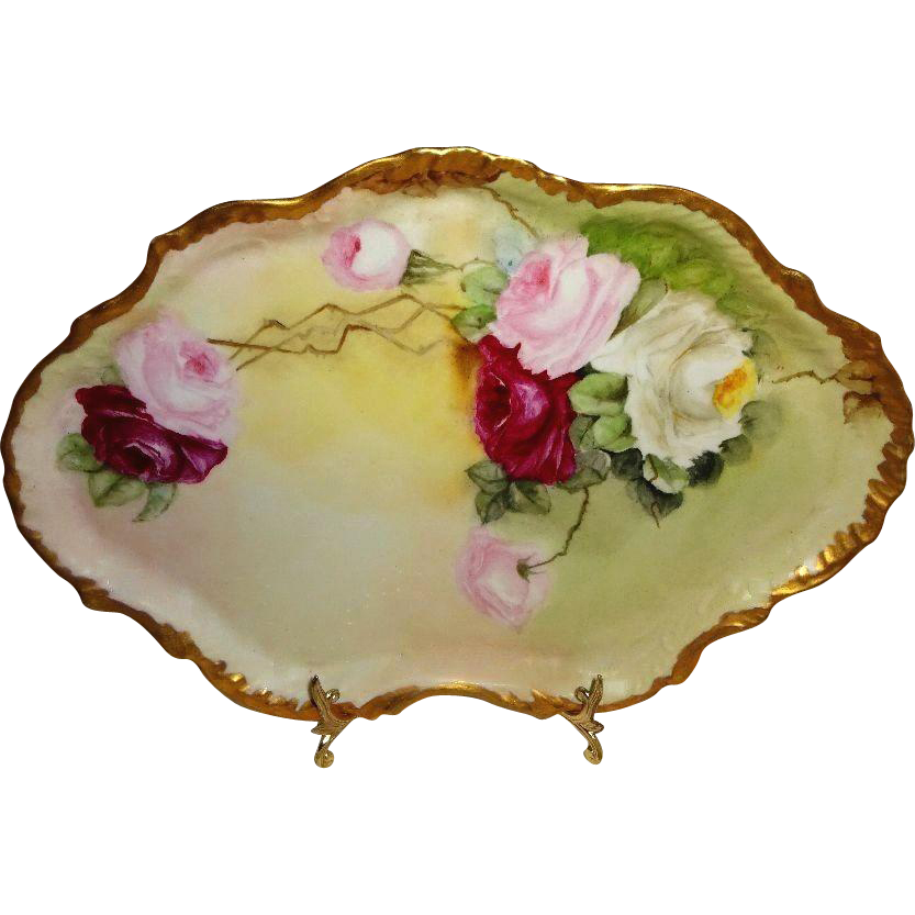 French Guerin Limoges France Hand Painted Tray Sweetheart Roses