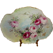 Antique Austria Tray Hand Painted Pink Sweetheart Roses Artist Signed Dated 08