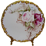 Antique French Limoges Hand Painted Plate with Pink Roses
