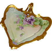 Stunning Antique Pickard  Hand Painted Heart Dish with Hand Painted Violets Artist Signed Howard B. Reury