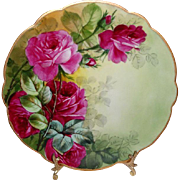French Antique Limoges Plate with Hand Painted Roses