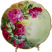 Antique French Limoges Plate with Scarlet Roses