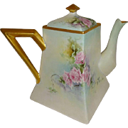 French Antique T&V Limoges France Teapot Hand Painted Pink Roses