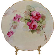Antique German Bavaria Plate with Hand Painted Pink Roses