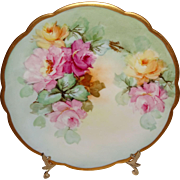 Antique French Limoges Plate Hand Painted Multicolored Tea Roses