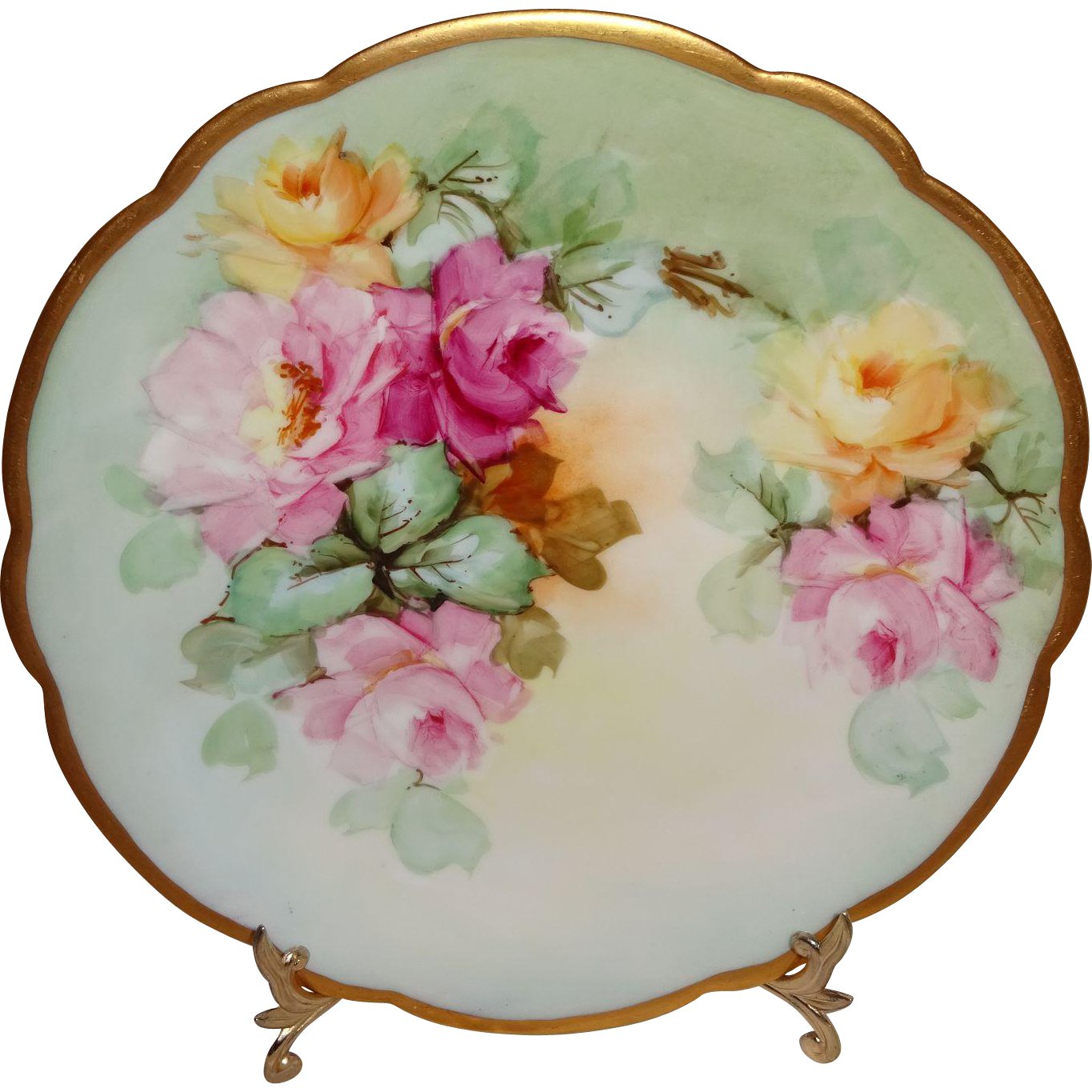 Limoges Antique French Plate Hand Painted Roses