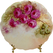 Antique French Limoges Plate with Hand Painted Pink Roses Artist Signed Dated 1904