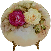Antique French Limoges Plate with Hand Painted Roses  Artist Signed Dated 1904