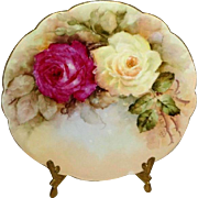French Antique Limoges Plate Hand Painted Roses Signed Dated 1904