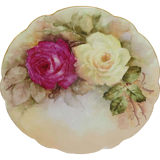 Antique French Limoges Plate Hand Painted Roses Signed Dated 1904
