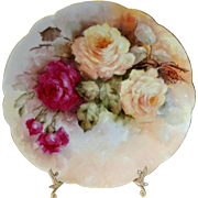 Framed Antique French Limoges Plate with Hand Painted Roses Artist Signed Dated 1904