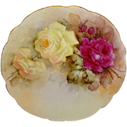 French Antique Limoges Plate Hand Painted Roses Artist Signed Dated 1904