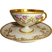 French Limoges Pedestal Cup Saucer Hand Painted Pink Roses Gilded Design Jeweled