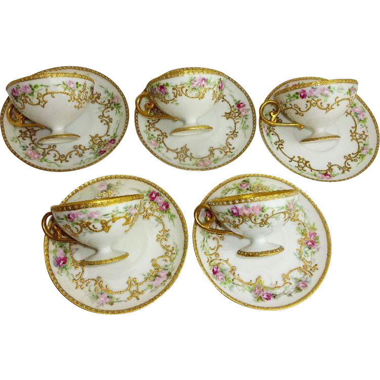 5 French Antique Limoges Hand Painted Cup Saucer Pink Tea Roses