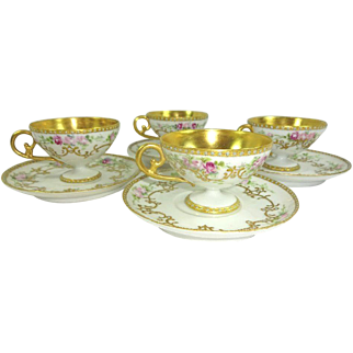 4 French Limoges Pedestal Cup Saucer Sets Hand Painted Pink Roses Gilded Design Jeweled