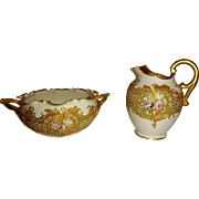 Beautiful - Antique - Willets Belleek - Sugar - Creamer - Hand Painted - Romantic Bouquets - Pink Tea Roses - Raised Gold Design - Teal Jewels - Turn-of-the-Century - Only Fine Lines