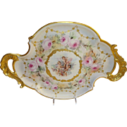 French Antique Limoges Tray Hand Painted Pink Roses Cherubs Coin Gold Accents Blue Enamel Jewels