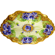 Vintage French Limoges France Tray Hand Painted Purple Violets Artist Signed Berger