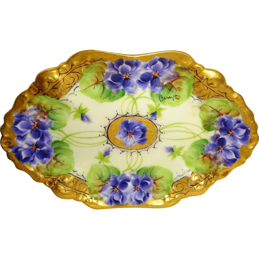 French Limoges Tray Hand Painted Violets Signed Berger