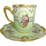 Antique French Limoges Cup Saucer Hand Painted Pink Roses