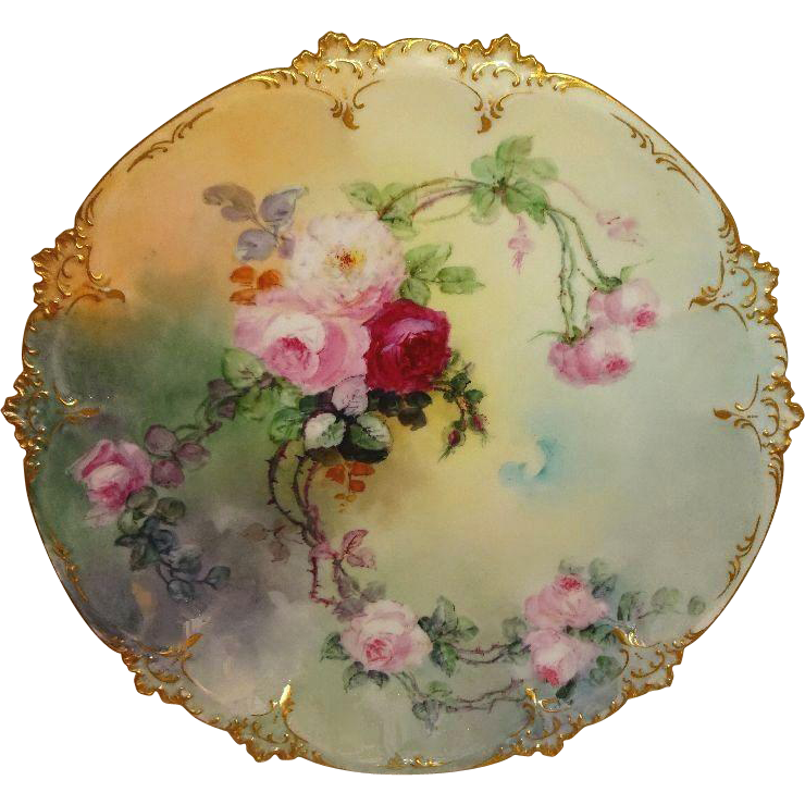 "Antique French Limoges 12"" Charger Plate Hand Painted Pink Roses Artist Signed Dated 1901"