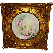 Framed French Limoges France Plate with Hand Painted Pink Tea Roses