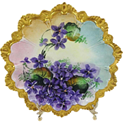 Antique Austrian Plate Hand Painted Violets Artist Signed